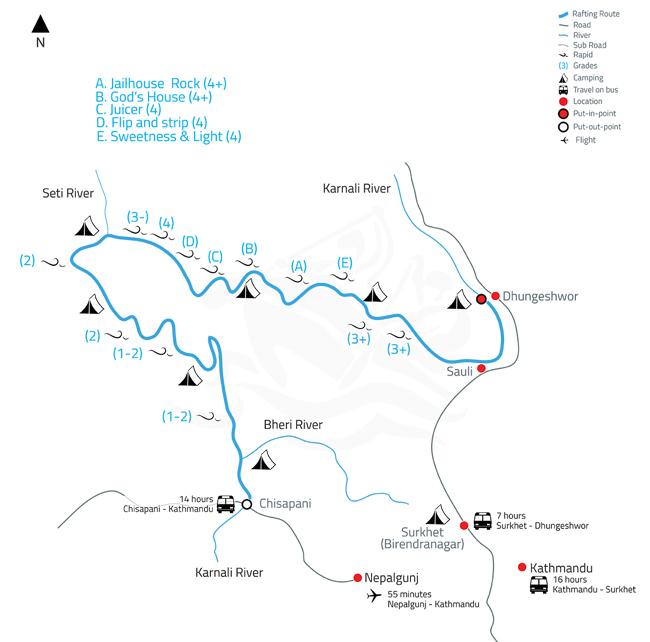 Karnali White Water Rafting and Kayaking Expedition – 10 Days-map
