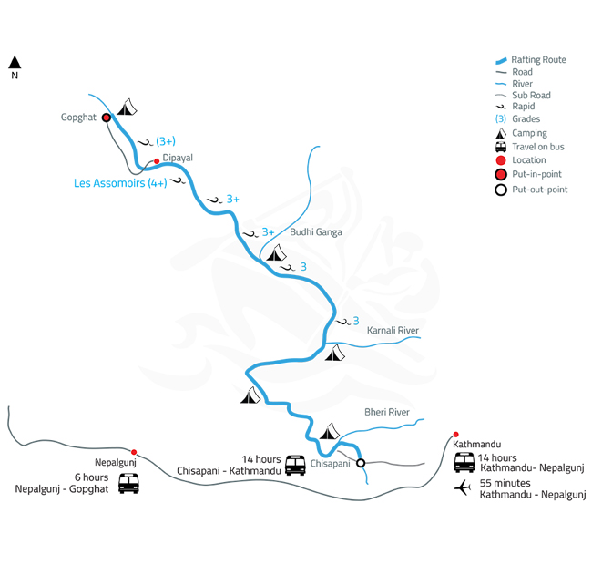 Seti Karnali Fishing and Rafting Expedition – 6 Days-map