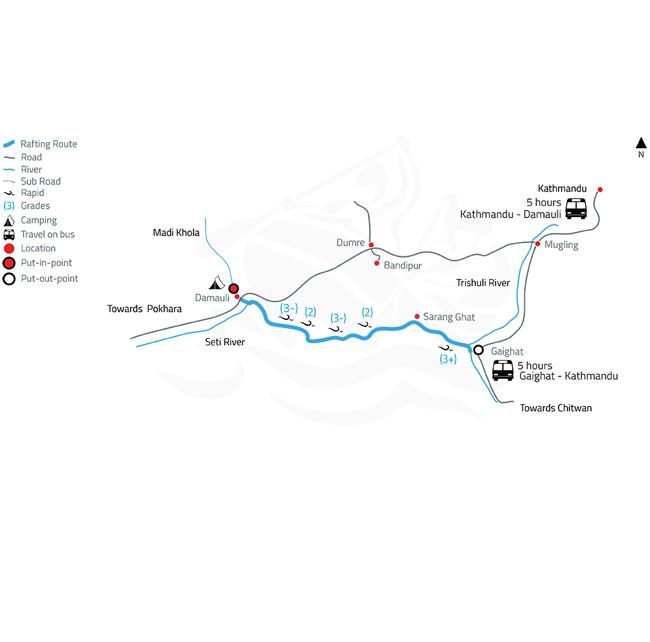 Seti White Water Rafting and Kayaking – 2 Days-map