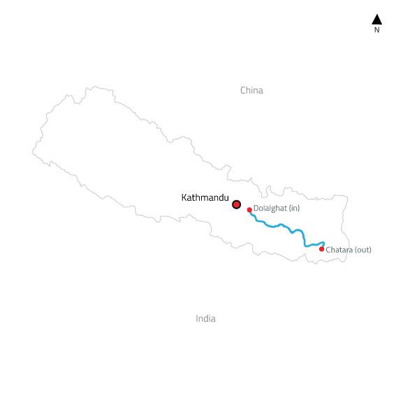 Sun Koshi White Water Rafting and Kayaking Expedition – 8 Days-map