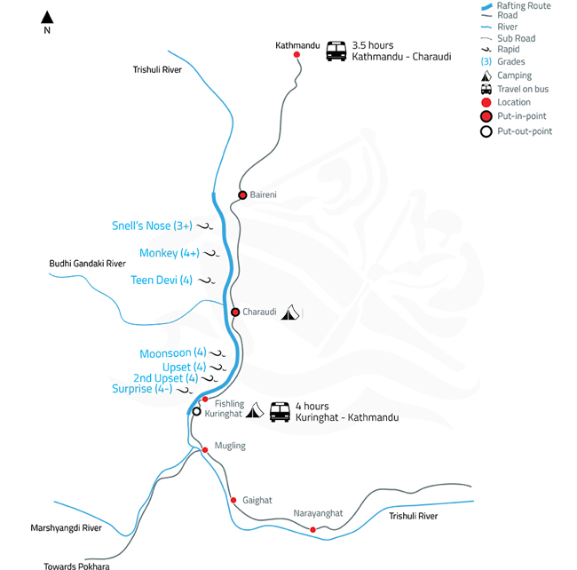Trishuli White Water Rafting and Kayaking – 2 Days-map